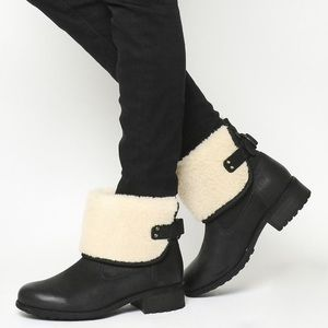 Ugg Aldon Fold Down Buckle Sheepskin Booties NWOB